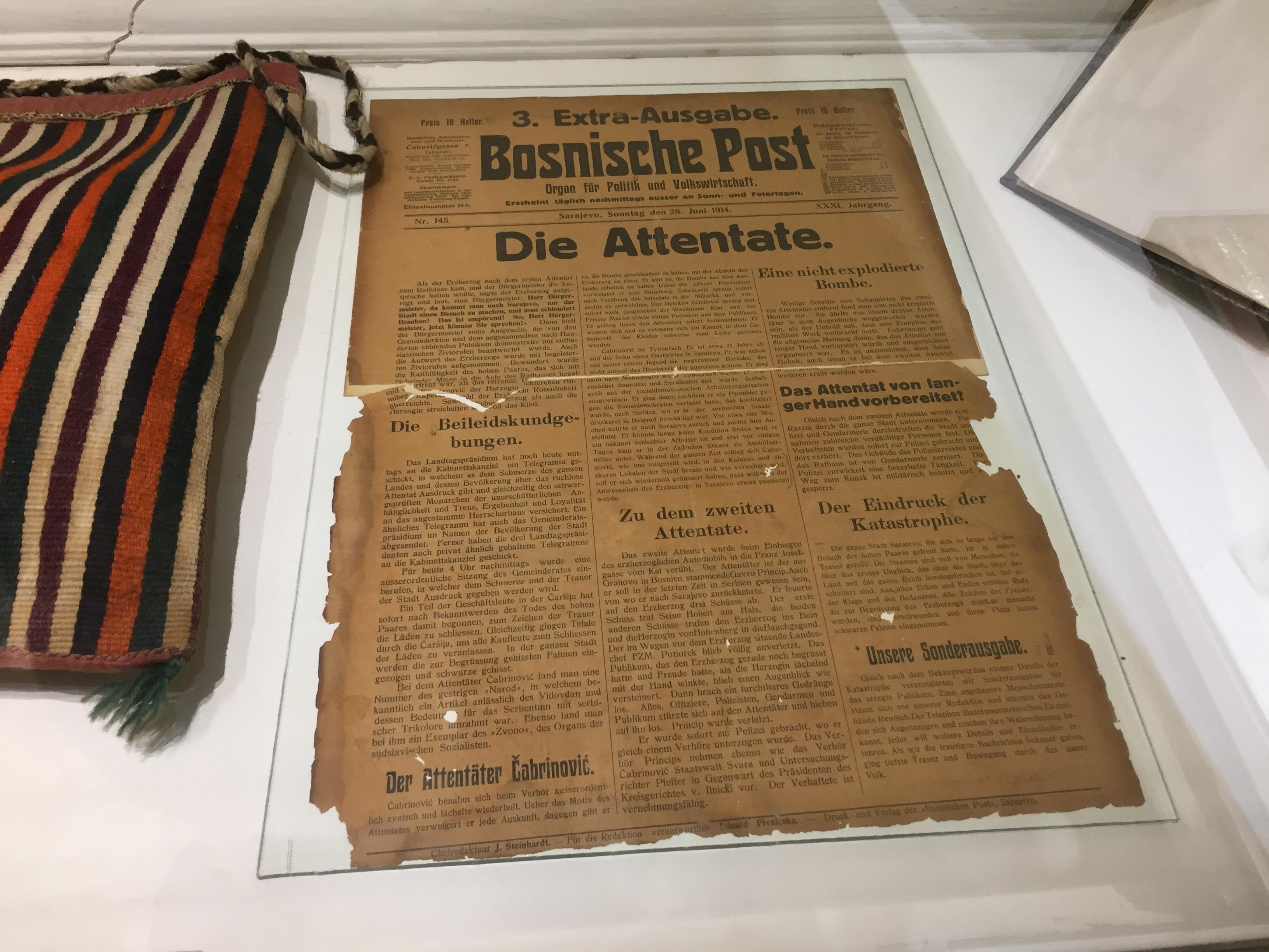 皇太子暗殺当日に発行された新聞