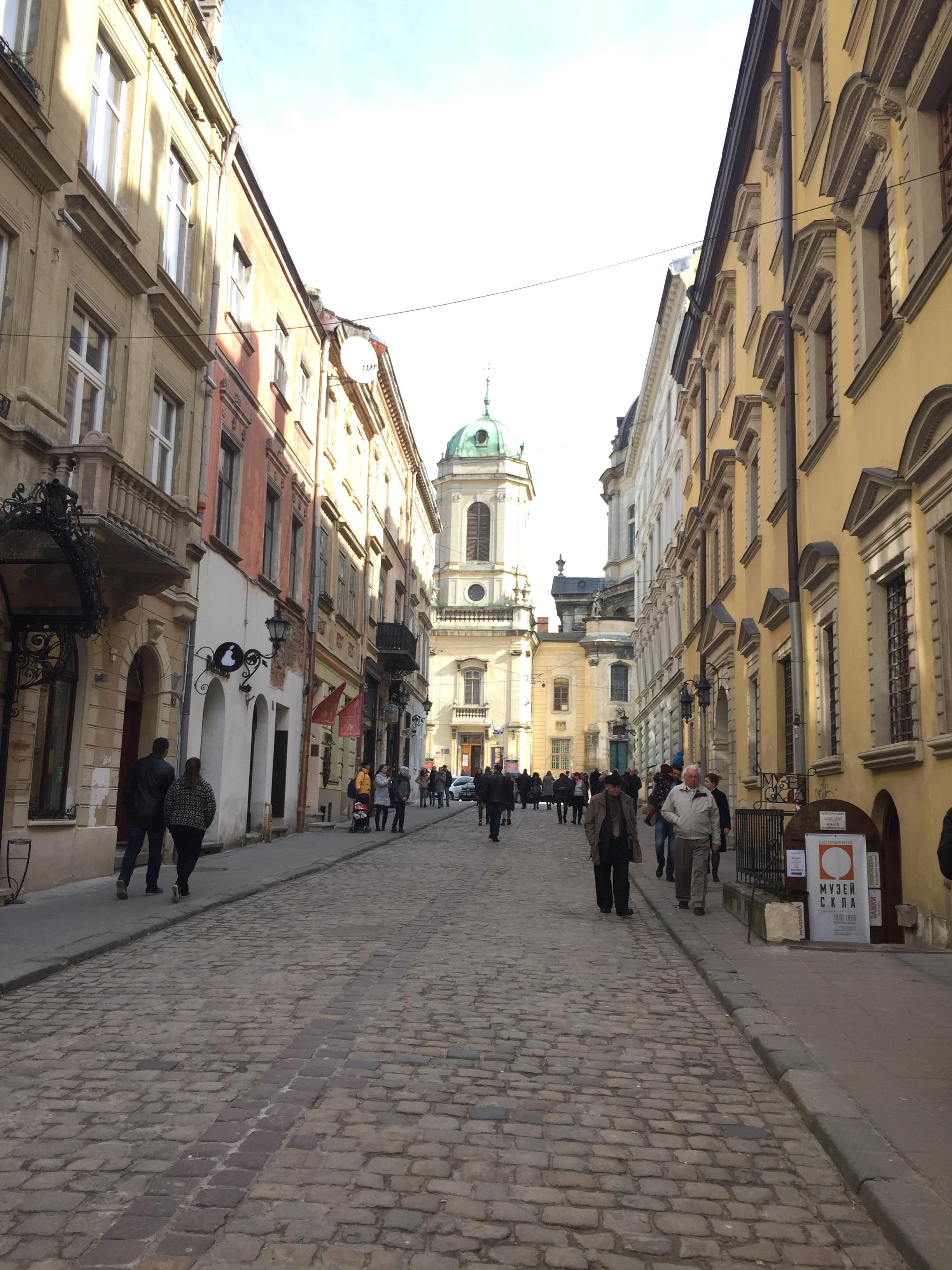 リヴィウの旧市街の街並み