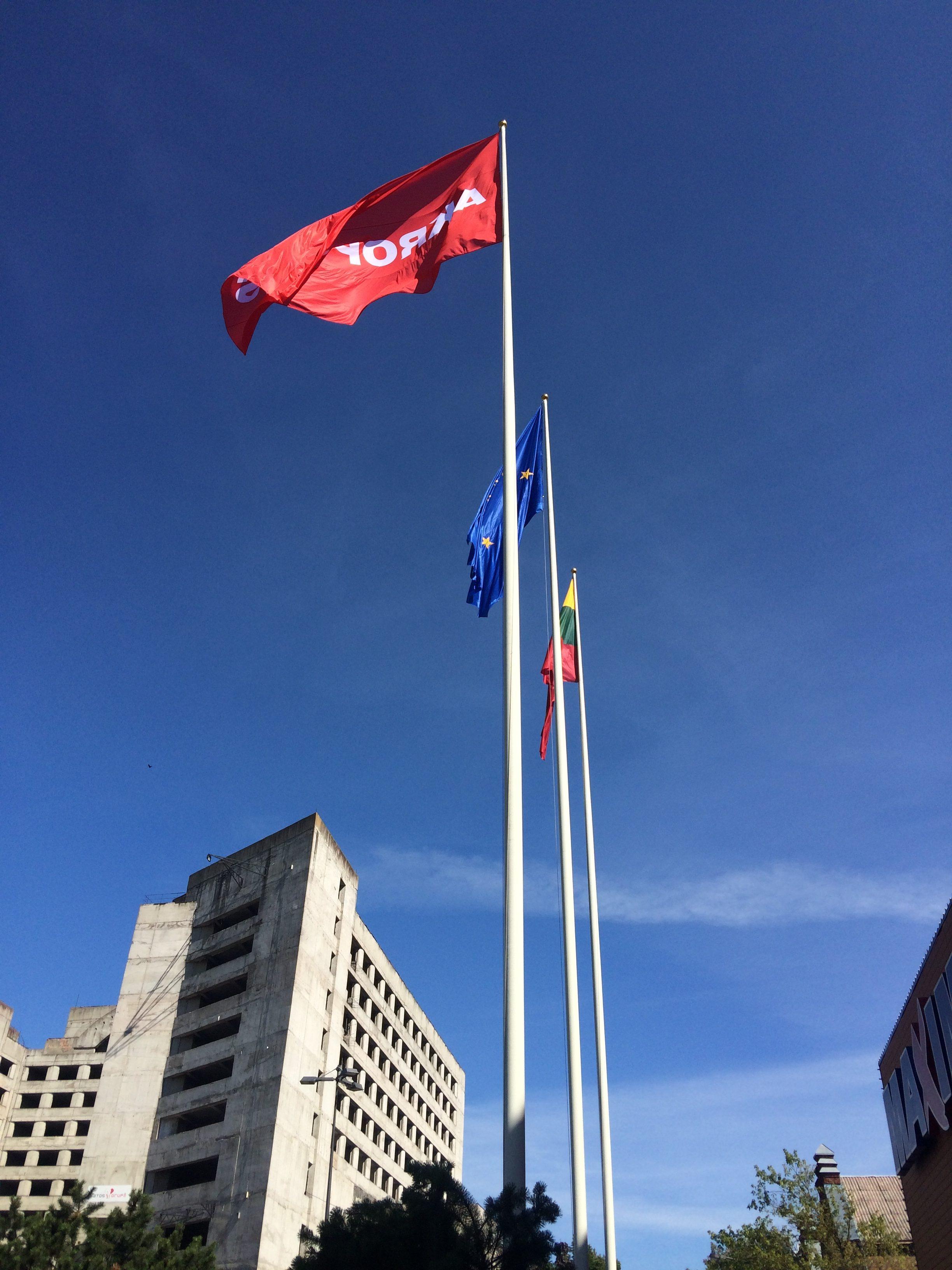 国旗を含む3つの旗